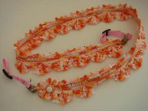 レース糸(橙)のストラップ